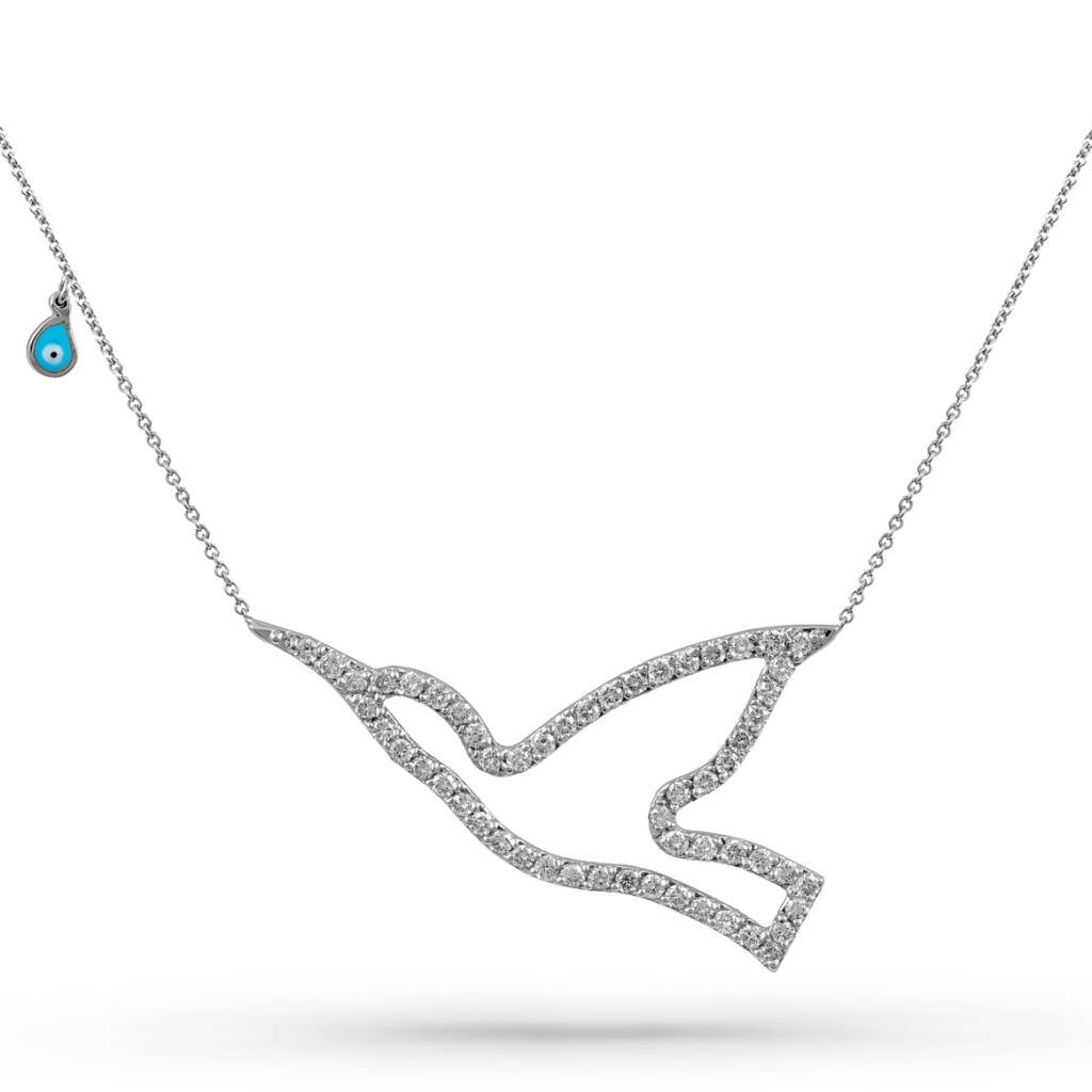 humming bird 14k white gold diamond necklace | tranquil opulence necklaces