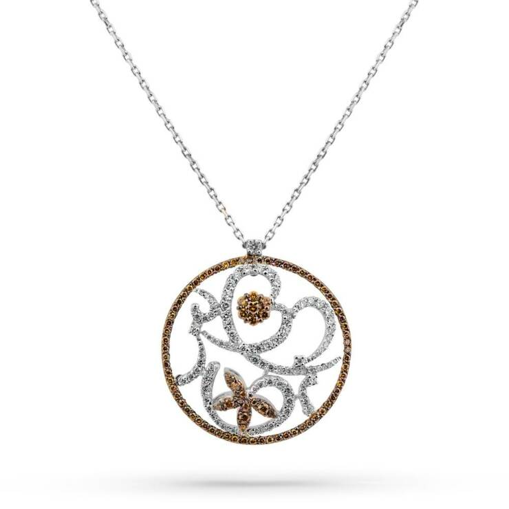 Flower Chamber Necklace With Cognac Diamonds
