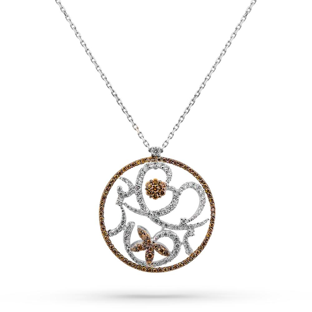 Flower Chamber Necklace With Cognac Diamond