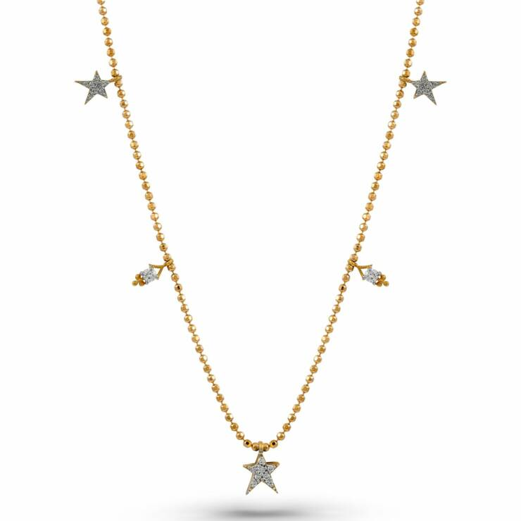 Rose Gold Beaded Chain Star Diamond Necklace