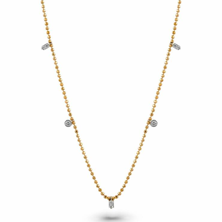 Rose Gold Beaded Chain Diamond Necklace