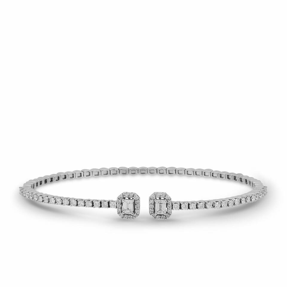 White Gold Flexible Diamond Baguette Bracelet