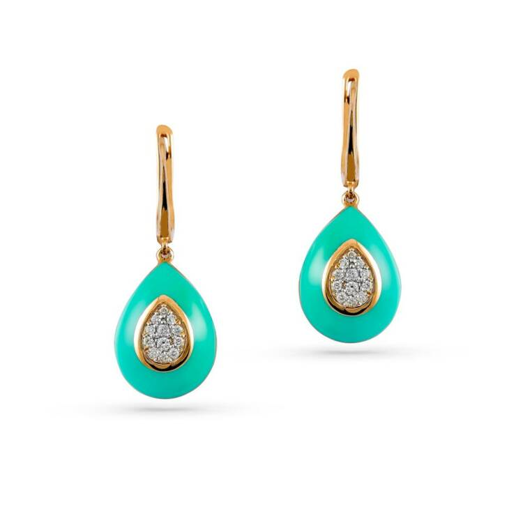 Rose Gold Enamel Earring