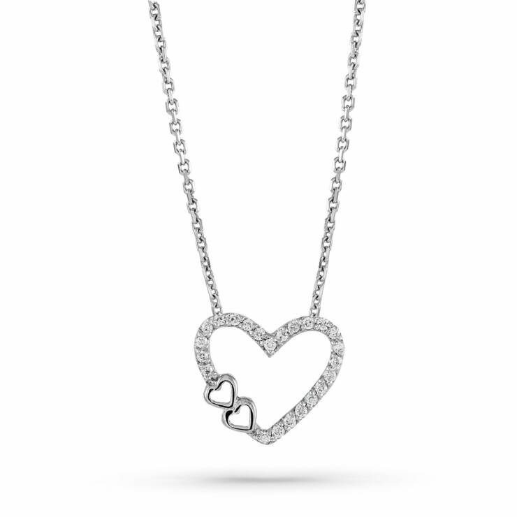 White Gold Heart diamond Necklace