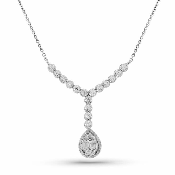 Pear Shaped White Gold Diamond Cluster Necklace