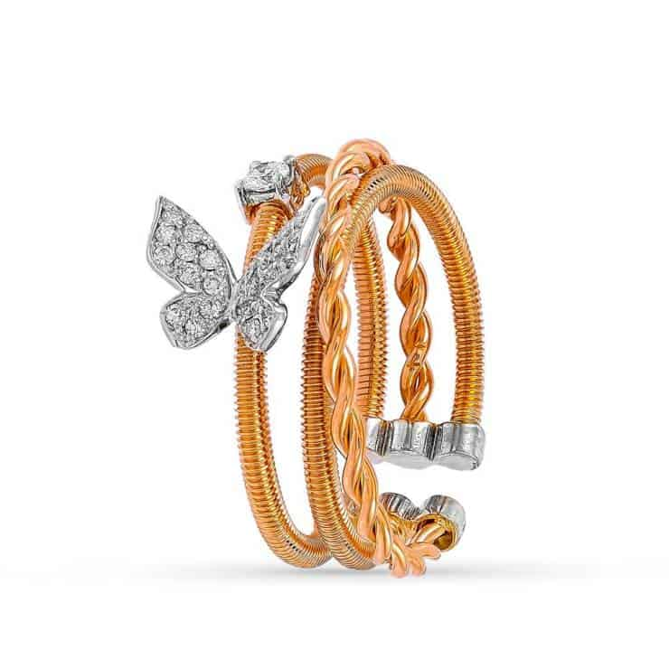 Rose Gold Butterfly Diamond Ring