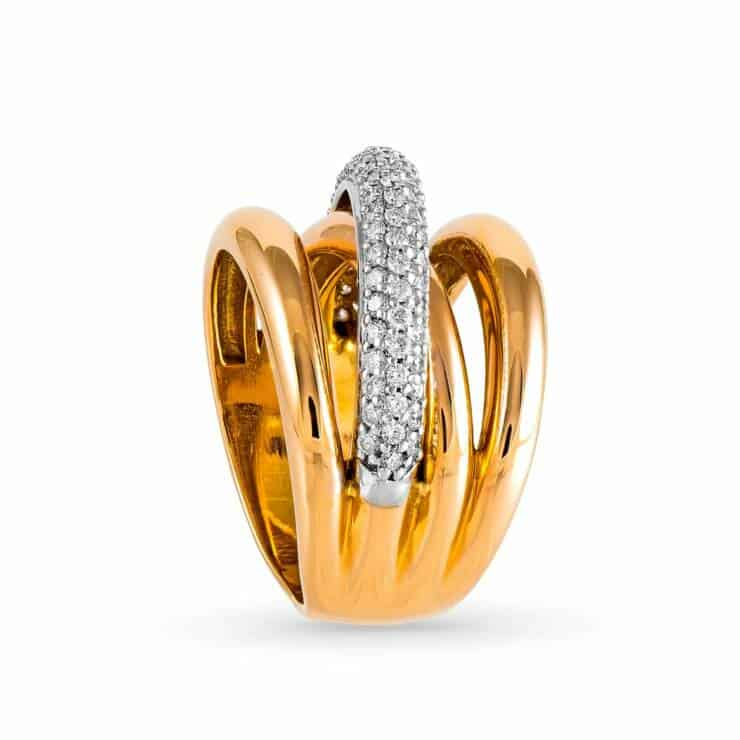 18k Yellow and White Gold Promise Diamond Ring