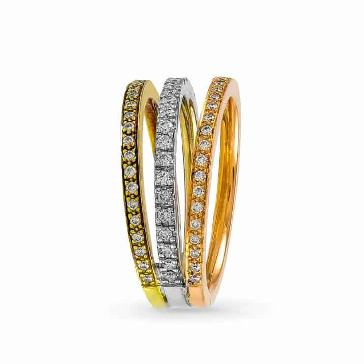 14k Triple Color Diamond Ring