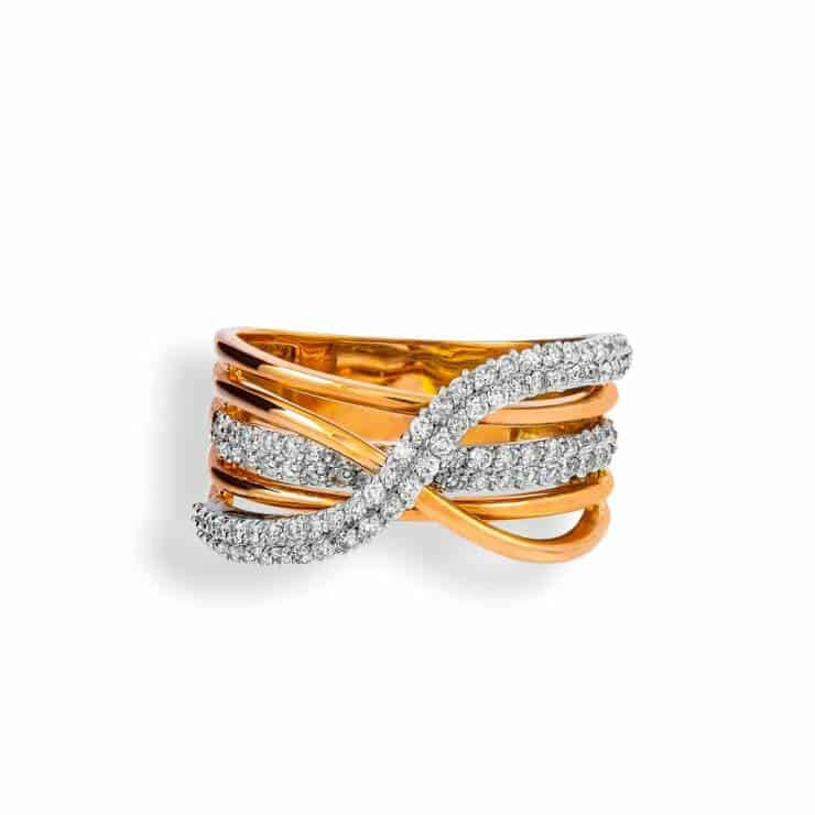 Rose and White Gold Infinity Diamond Ring