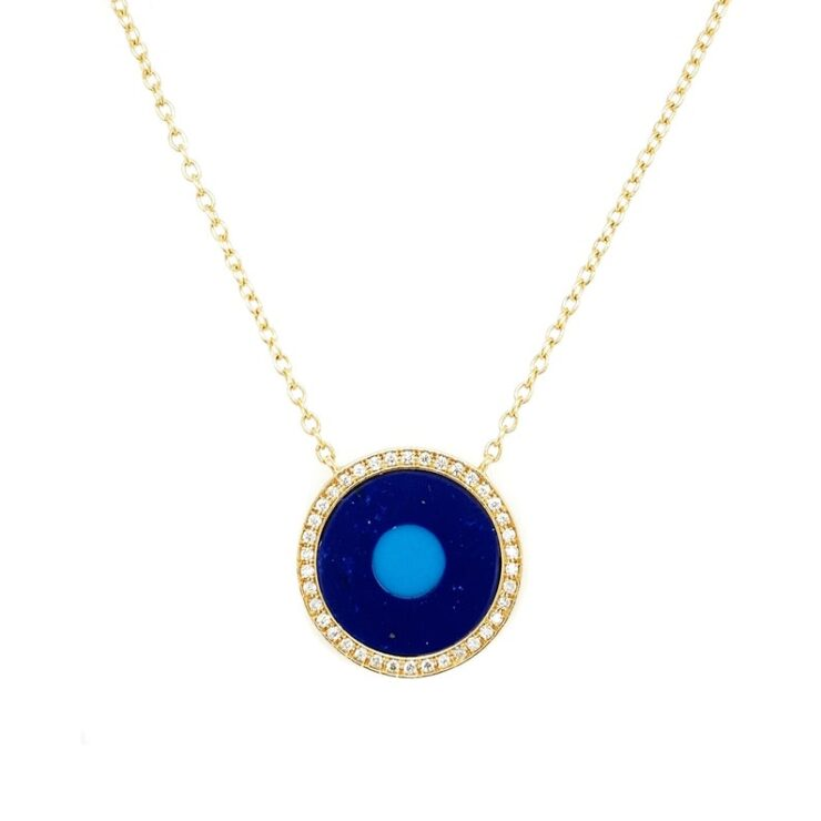 14K Yellow Gold Enamel Circle & Diamond Necklace