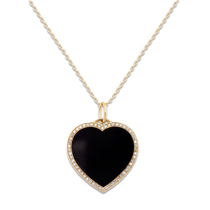 14K Yellow Gold Black Onyx and Diamond Heart Necklace
