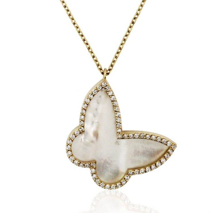 14K Yellow Gold Diamond & Mother of Pearl Butterfly Necklace
