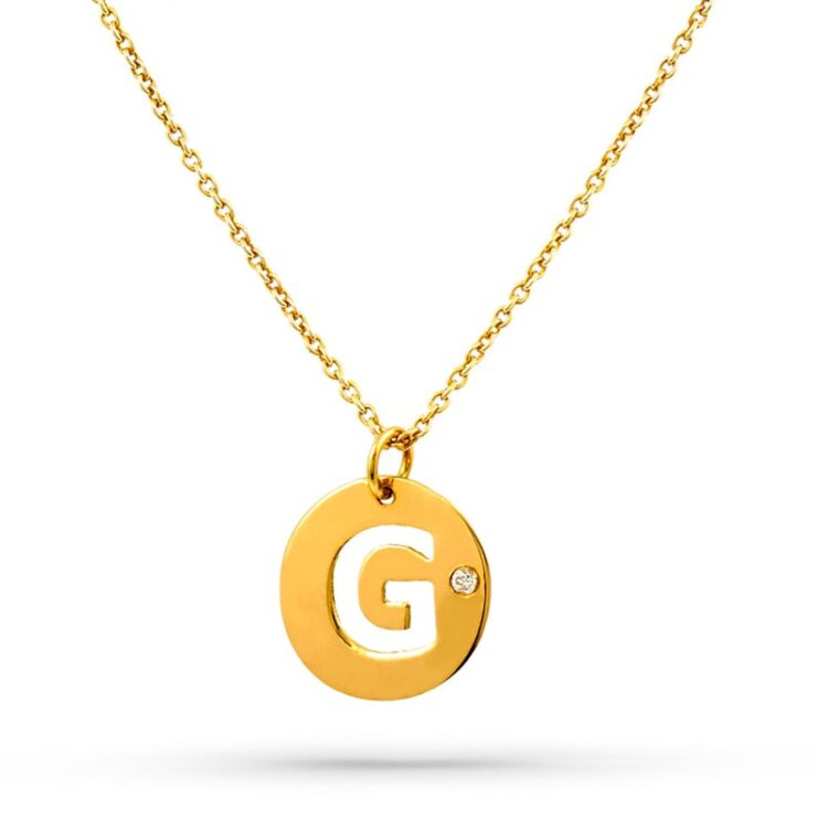 14K Yellow Gold Circle Diamond intital Necklace